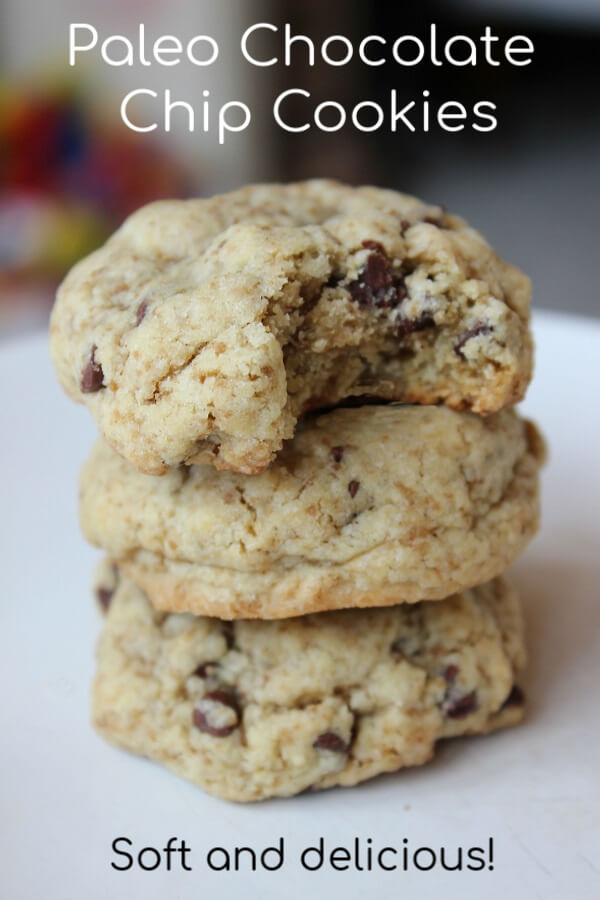 Paleo Chocolate Chip Cookies Recipe - Delicious soft, chewy paleo cookies made with almond flour