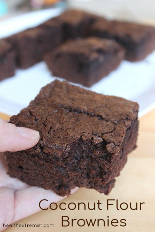 Paleo Brownies made with coconut flour ready to eat fresh out of the oven