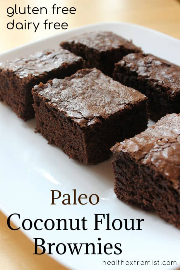 Soft and Chewy Paleo Brownies made with coconut flour