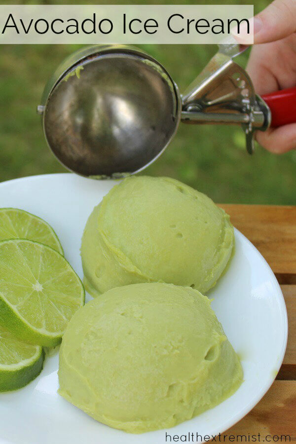 Avocado Ice Cream Recipe - This ice cream is made from avcados and just 2 other ingredients! It is gluten free, dairy free and free of refined sugar. Super healthy delicious dessert! #dairyfree #nodairy #glutenfree #paleo #realfood #avocado #avocadorecipe #avocadoicecream #avocadoicecreamrecipe