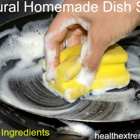 Natural Homemade Dish Soap - Only need 3 ingredients. Easy to make and works great for cleaning dishes while still gentle on your skin.