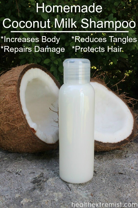Make Your Own Homemade Coconut Milk Shampoo -This shampoo helps reduce tangles and increase volume.
