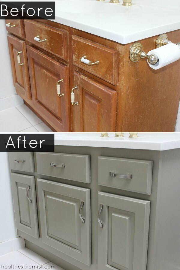 Before and After How to Refinish a Bathroom Vanity All Naturally - I refinished my bathroom vanity naturally with no chemicals, no VOCs and no toxins.