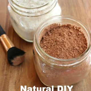 dry shampoo in jars with brush with text overlay - natural diy dry shampoo for light and dark hair