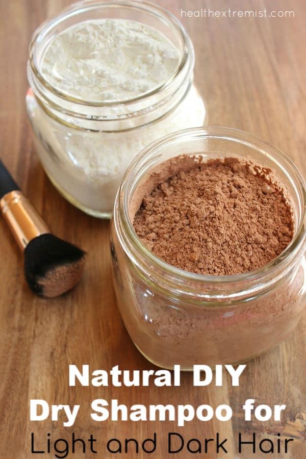 DIY dry shampoo in jars with brush