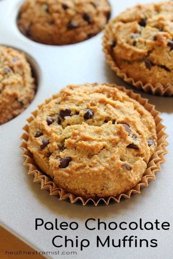 Chocolate chip muffins in muffin pan with text overlay - paleo chocolate chip muffins